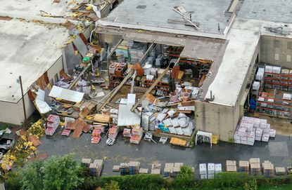 The back of ABC Supply Co. in Annapolis is exposed following Wednesday's tornado.