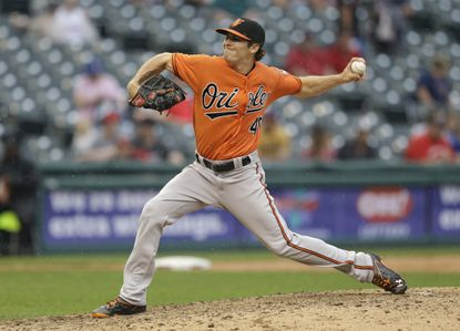 Baltimore Orioles relief pitcher Ashur Tolliver delivers against the Cleveland Indians in a baseball game, Saturday, May 28, 2016, in Cleveland. (AP Photo/Tony Dejak)