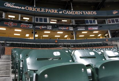 No fans are allowed at Baltimore Orioles games this year due to the coronavirus pandemic. The city elections board is in talks with ballpark officials to use the stadium, shown Aug. 5, 2020, as a voting center during November's election.