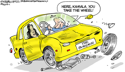 Time for the vice president to deal the border issues. (Dana Summers/Tribune Content Agency).