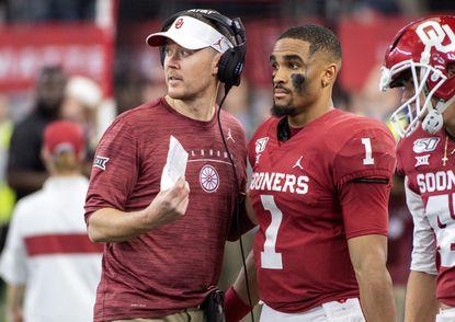 Oklahoma head coach Lincoln Riley and quarterback Jalen Hurts lead the Sooners into Saturday's CFP semifinals in Atlanta.