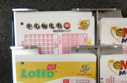 Blank Powerball tickets on display.