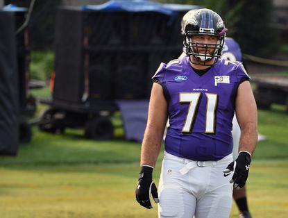 Ravens tackle Rick Wagner practices during the second day of training camp at the Under Armour Performance Center.