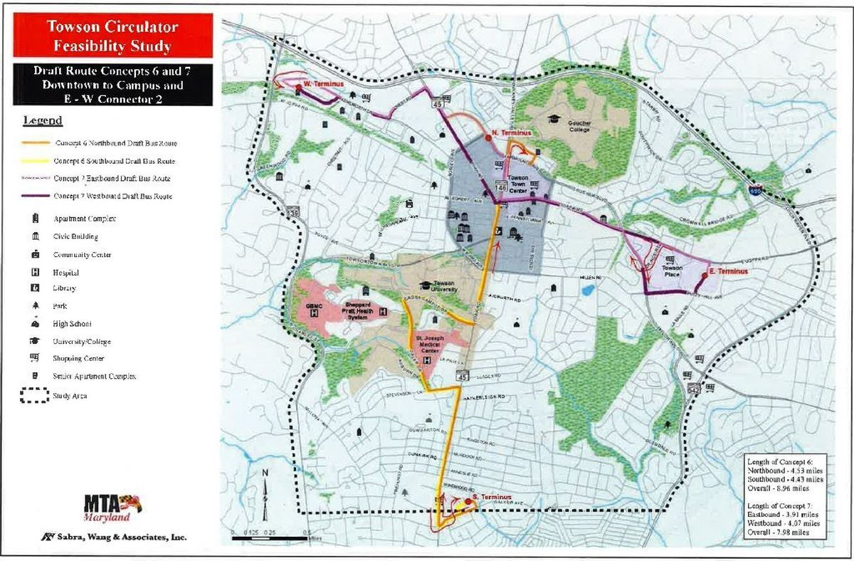 Towson Circulator concept loops back around as councilman ... on local map, repeater map, fan map, mbta orange line map, cta brown line map,