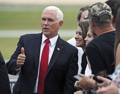 Vice President Mike Pence arrives at BWI Thurgood Marshall International Airport in June to speak at the Maryland Republican Party's Red, White and Blue Dinner fundraiser. At the end of September, the party had less than $4,000 in the bank and owed nearly $94,000 on a line of credit, which officials said was caused primarily by cost overruns from the Pence event.