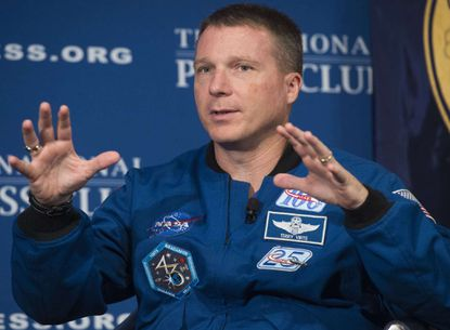 NASA Astronaut Terry Virts speaks about his time in space during an event at the National Press Club in Washington, D.C.