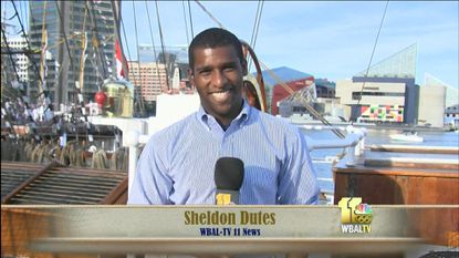 WBAL-TV's Sheldon Dutes on the deck of the Cisne Branco, the ship he boarded in Norfolk to the ride to Baltimore's Sailabration.