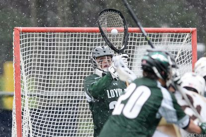 Loyola's Jacob Stover makes a save in the snow on April 9, 2016, at Lehigh University.