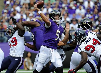 Ravens quarterback Joe Flacco throws a pass in the second half of the Ravens' 30-9 win over the Houston Texans at M&T Bank Stadium in Baltimore Sunday, Sept. 22, 2013.