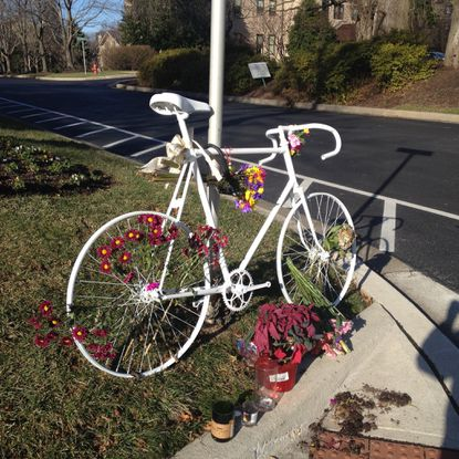 A memorial pays tribute to cyclist Thomas Palermo who was struck and killed in December.