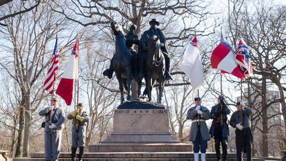 Confederate re-enactors gathered at the Lee-Jackson Monument last January to commemorate the generals' birthdays.