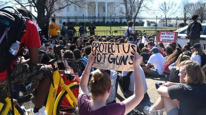 Hundreds of high school and middle school students from the District of Columbia, Maryland and Virginia staged walkouts and gather in front of the White House in support of gun control in the wake of the Florida shooting February 21, 2018 in Washington, DC.