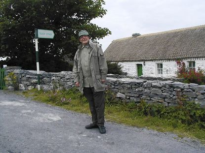 John Astin standing just outside the Inishmaan house where John Millington Synge made long visits and wrote.