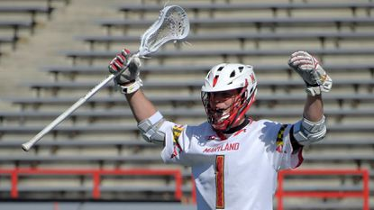 Senior midfielder Connor Kelly (1) and coach John Tillman of the Maryland men's lacrosse team took home two of the Big Ten's major individual awards, the league announced Tuesday.