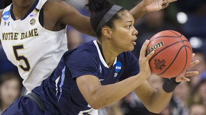 Villanova's Jannah Tucker, front, passes the ball during a second-round game in the NCAA women's college basketball tournament Sunday, March 18, in South Bend, Ind. Notre Dame won, 98-72.