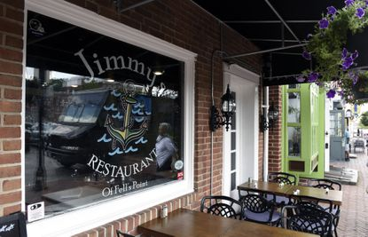 The exterior of Jimmy's Restaurant in Fells Point.