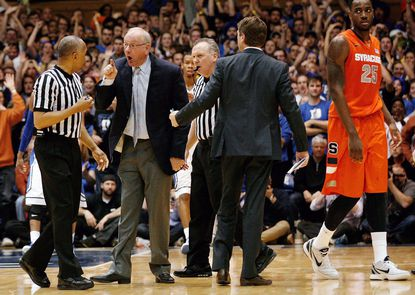 Saturday's ejection at Duke was Jim Boeheim's first in his career in a regular season game.