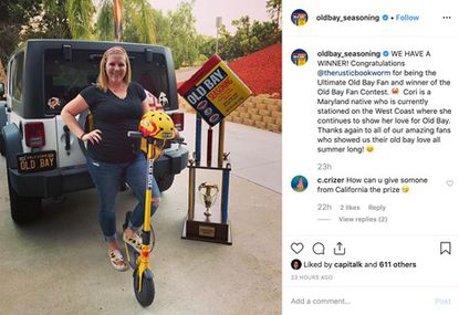 Cori Russell, a Maryland native living in California, has been named the Ultimate Fan of Old Bay seasoning after the company held a contest this summer.
