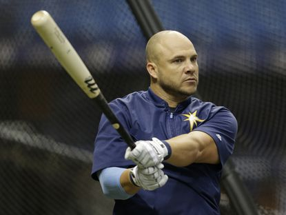 Tampa Bay Rays' Steve Pearce before a baseball game against the Toronto Blue Jays Monday, April 4, 2016, in St. Petersburg, Fla.