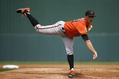 Orioles starting pitcher Tyler Wilson throws between innings in a spring training game against the Minnesota Twins in Fort Myers, Fla., Saturday, March 5, 2016.