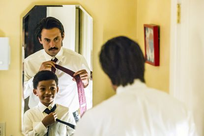 """Lonnie Chavis as Randall, Milo Ventimiglia as Jack in the """"Career Days"""" episode of """"This Is Us."""""""