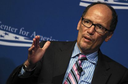 US Secretary of Labor Tom Perez speaks during the Center for American Progress 10th Anniversary Conference in Washington, DC, October 24, 2013.