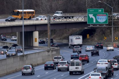 Traffic backups such as this one on Monday, Dec. 2, 2019, are not unusual where the Capital Beltway meets the I-270 spur in either direction any time of day but proposed toll lanes project has run into considerable opposition. Washington Post photo by Katherine Frey