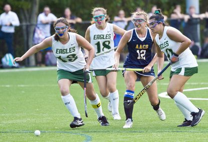 Indian Creek will expand practices with possibility of scrimmages for fall sports. Pictured are Annapolis Area Christian School's Livy Lenhart, center right, and from left, Indian Creek's Elizabeth Foster, Reagan Bice and Ellie Bear Sharma, in a game from last year.