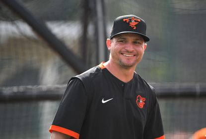 Bowie Baysox manager Buck Britton was in spring training camp to help out with practices at the Ed Smith Stadium complex Feb. 14.