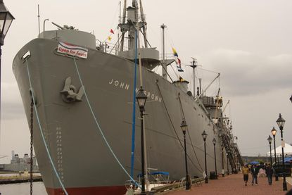 The John W. Brown Liberty ship carried cargo during World War II. It's home port is Baltimore.