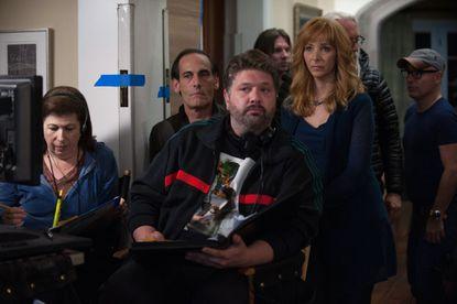 "Damian Young, Lance Barber, Lisa Kudrow in ""The Comeback."""