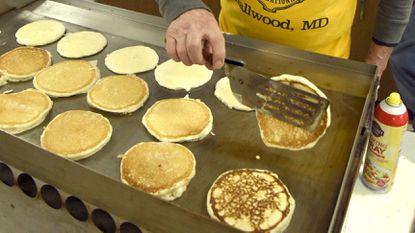 David Duckland flips a pancake during Deer Park United Methodist Church's, Shrove Tuesday pancake supper in 2018. This year, Deer Park UMC will host the annual pancake supper on Feb. 28 from 4:30 to 7 p.m.