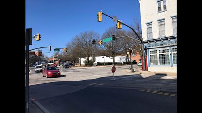 The traffic light at Main Street and Md. 27, in Westminster, malfunctioned again Tuesday, turning the intersection into a four-way stop