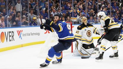 St. Louis Blues' Ryan O'Reilly (90) celebrates his third period goal against the Boston Bruins in Game 4 of the Stanley Cup Final on June 3 in St Louis, Mo. The Blues won 4-2.
