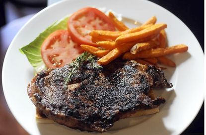 The Corner Bistro Ribeye Steak Sandwich at the Corner Bistro and Wine Bar.