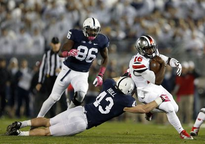 Penn State linebacker Mike Hull had 19 tackles and an interception last week against Ohio State.