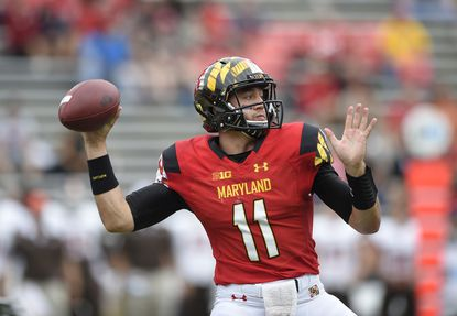 Maryland quarterback Perry Hills (11) looks to pass against Bowling Green during the second half of an NCAA college football game, Saturday, Sept. 12, 2015, in College Park, Md. Bowling Green won 48-27.