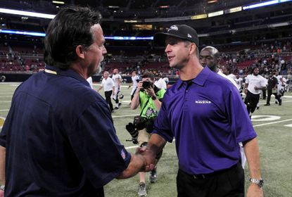 Ravens coach John Harbaugh shakes hands with St. Louis Rams coach Jeff Fisher after a game at Edward Jones Dome in 2013.