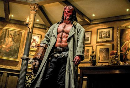 """Writer Andrew Cosby has stuffed a rogue's gallery of ghoulish characters, subplots and flashbacks into """"Hellboy,"""" which stars David Harbour (pictured)."""