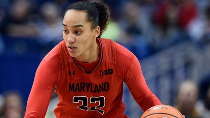 Maryland's Blair Watson drives during the first half of a game against UConn on Nov. 19, 2017, in Hartford, Conn.