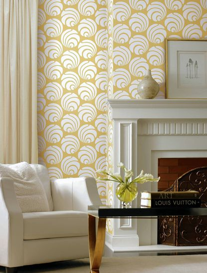 This is Large Swirl Geo in white on yellow from Silhouettes by Ashford House.