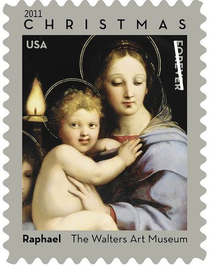 "The U.S. Postal Service selected ""The Madonna of the Candelabra"" as an official Christmas stamp for 2011 and 2012."