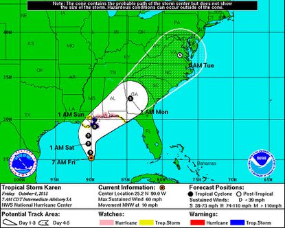 Tropical Storm Karen could near hurricane status at landfall