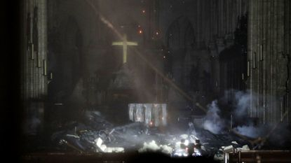 The interior of the Notre-Dame Cathedral as flames burn the roof in Paris, France on April 15.