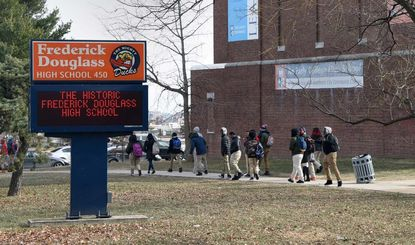 Students were dismissed early from Frederick Douglass HIgh School because of cold in January 2018. A Johns Hopkins University study found Baltimore students have collectively missed nearly 1.5 million hours of school the past five years.