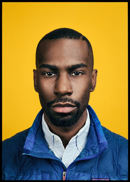 Portrait of DeRay Mckesson by Quinn Russell Brown, on display at the National Portrait Gallery.