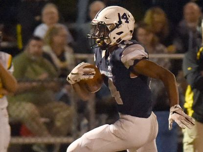 Manchester Valley's Nathaniel Costley, seen in this file photo, rushed for 157 yards and a touchdown in the Mavericks opening-round playoff win over Hammond on Nov. 8.