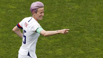 U.S. forward Megan Rapinoe celebrates after scoring on a penalty shot during the the opening minutes of a 2-1 victory over Spain in the Women's World Cup on Monday.