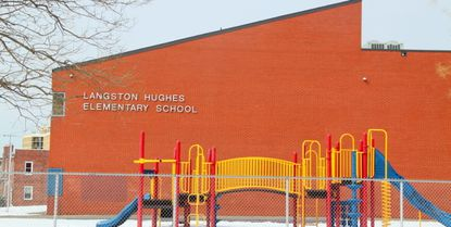 Langston Hughes Elementary School, pictured, was closed in 2015 despite community protest.