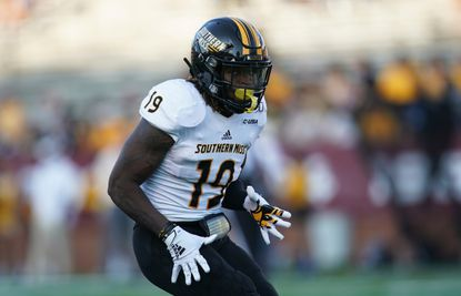 Southern Miss defensive back Ky'el Hemby plays during an NCAA football game on Saturday, Sept. 14, 2019 in Troy, Ala. (AP Photo/Marvin Gentry)